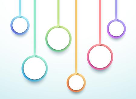 Abstrakte Vektor 3d bunte 6 Schritt Kreise Infografik