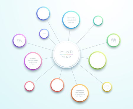 Abstract Vector 3D-grote Mind Map Infographic Vector Illustratie