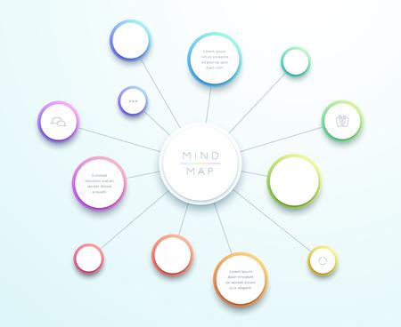 Große Mind Map-Infografik des abstrakten Vektors 3d Vektorgrafik