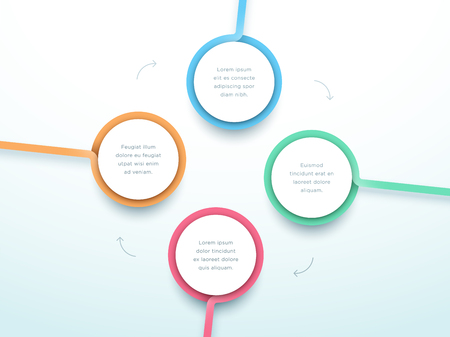 Abstract Circle 4 Step Infographic 3d Colorful Vector