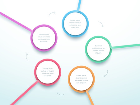 Abstract Circle 5 Step Infographic 3d Colorful Vector Illustration