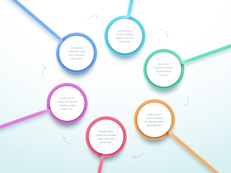 Abstract Circle 6 Step Infographic 3d Colorful Vector
