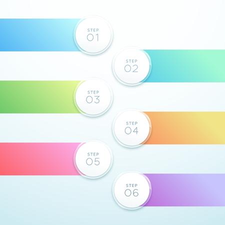 Vector 3d Circle Banner 6 Point Infographic List Design Иллюстрация