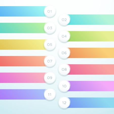 ベクトル3Dサークルバナー12点インフォグラフィックリストデザイン ベクターイラストレーション
