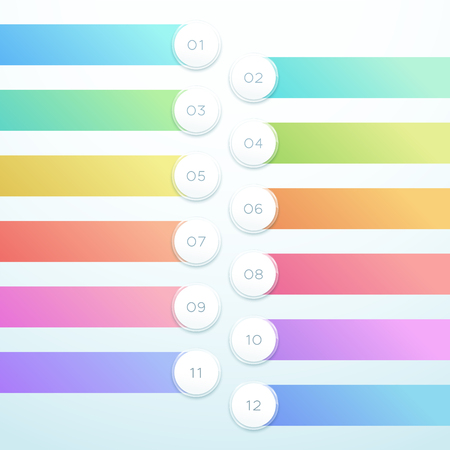 Vector 3d Circle Banner 12 Point Infographic List Design Illustration
