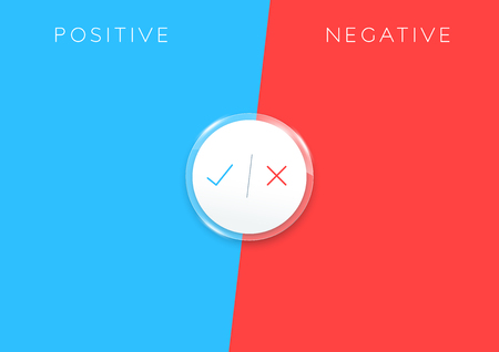 2 step positive negative list infographic colorful Illustration
