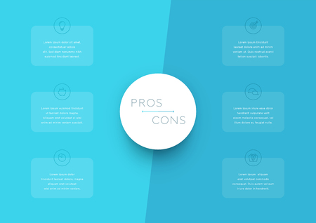 2 step pros and cons list infographic template