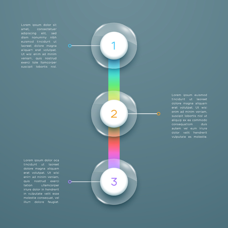 3 Step Colorful 3d Vertical Time Line Infographic Template
