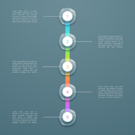 5 Step Colorful 3d Vertical Time Line Infographic Template Vettoriali