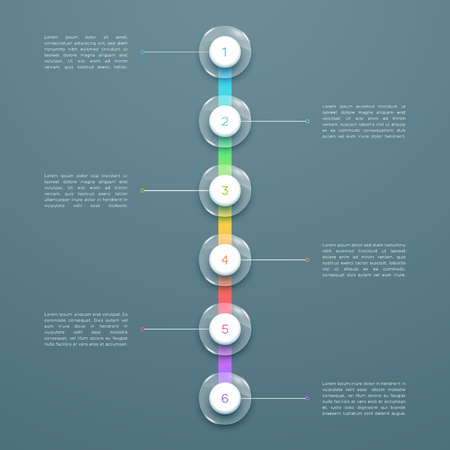 6 Step Colorful 3d Vertical Time Line Infographic Template