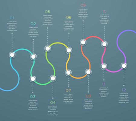 Infografía de línea de tiempo 3d horizontal curvada de 12 puntos