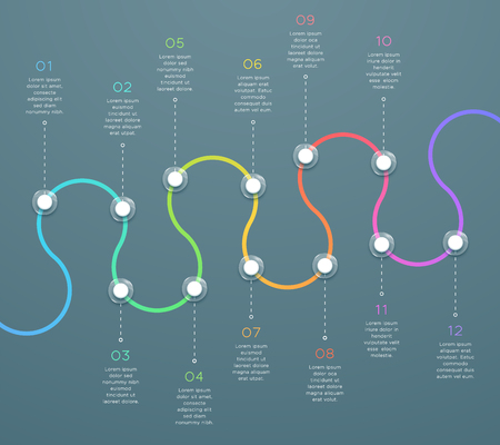 12 Point Curved Horizontal 3d Time Line Infographic