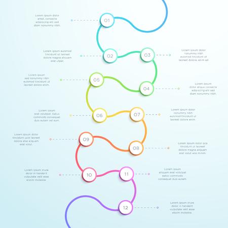 Infografía de línea de tiempo 3d vertical curvada de 12 puntos