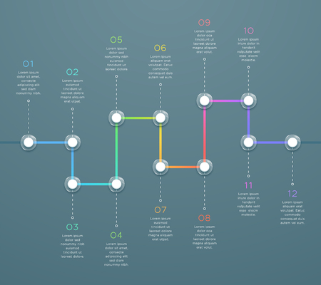 12 Point Colorful Horizontal 3d Time Line Infographic Vectores