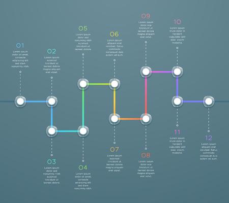 Infografía de línea de tiempo 3d horizontal colorida de 12 puntos Ilustración de vector