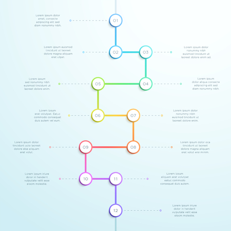 12 Point Colorful Vertical 3d Time Line Infographic