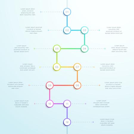 Infografica sulla linea temporale 3d verticale colorata a 12 punti Vettoriali