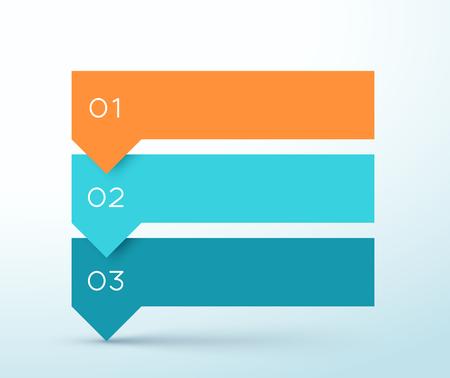 Diagrama de infografía de banners coloridos de lista de flechas de 3 pasos