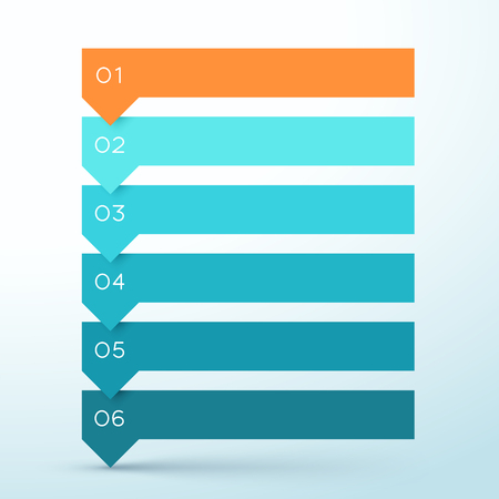 6 Step Arrow List Colorful Banners Infographic Diagram Vettoriali