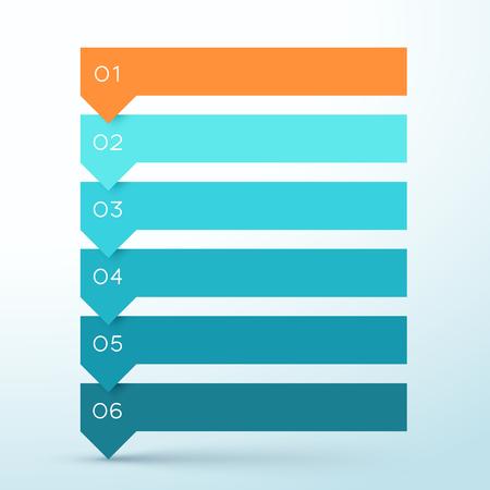 Diagramme infographique des bannières colorées de la liste des flèches en 6 étapes