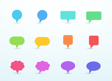 Vector Upright Speech Bubble Sign Shapes Set