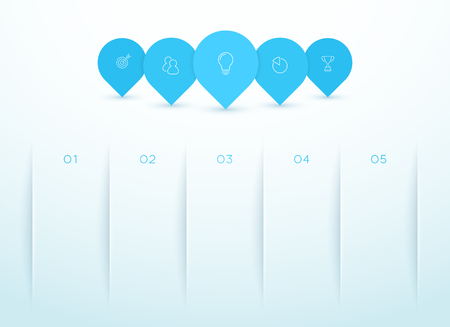 5 Marker Shapes Overlapping Infographic Template Illustration