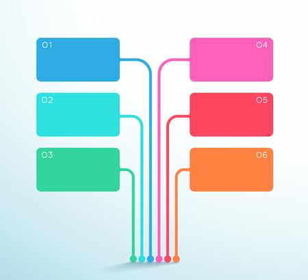 Diagrama de cuadro de texto vectorial de 6 puntos Plantilla de infografía 3d