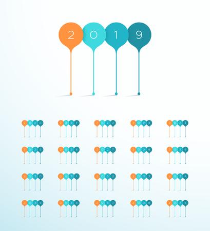 New Year Vector Blue Orange 3d Banner Set 2019 to 2039