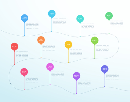 Timeline Vector Months Jan to Dec 3d Shapes Infographic