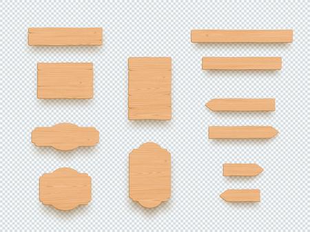 Ensemble d'éléments de bannière de panneau 3d vide plaine signe en bois