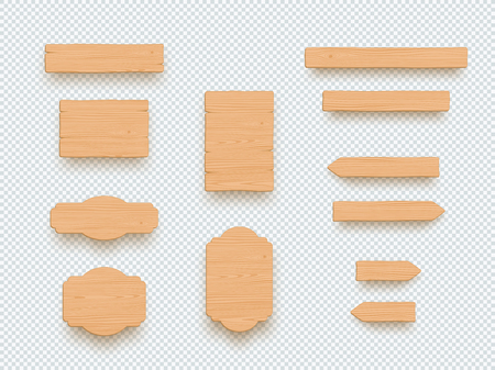 Wooden Sign Plain Empty 3d Board Banner Elements Set 版權商用圖片 - 116874167