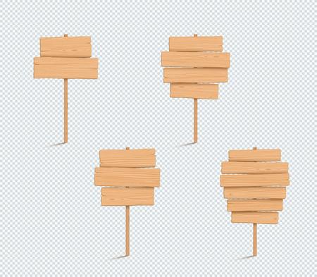 Conjunto de lista de tablones apilados 3d vacío llano de letrero de madera
