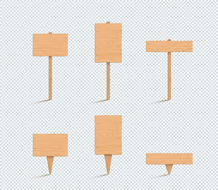 Wooden Sign Plain Empty 3d Vector Illustration Set 일러스트