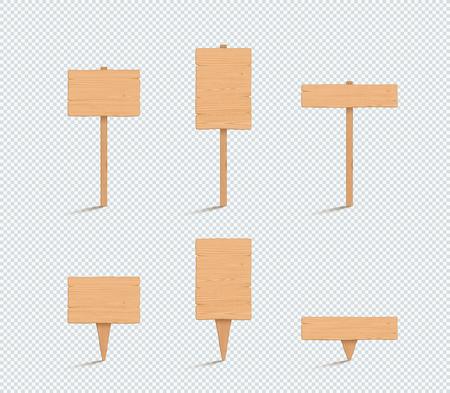 Panneau en bois plaine vide 3d Vector Illustration Set
