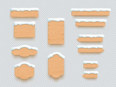 Wooden Sign Winter Snow 3d Board Banner Elements Set