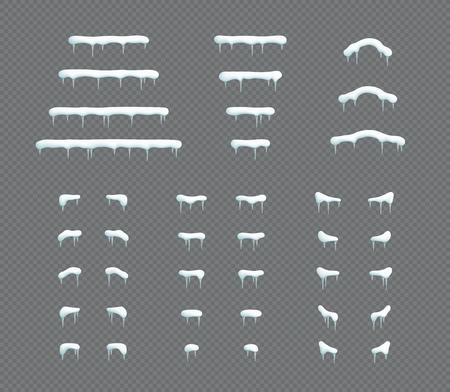 Insieme di elementi di vettore dell'illustrazione 3d di inverno del ghiacciolo del cappuccio della neve Vettoriali