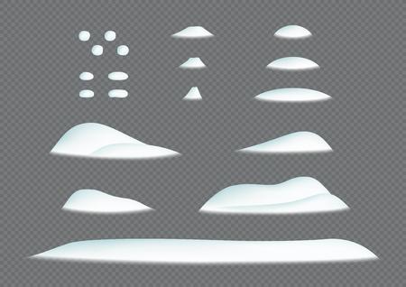 Montón de nieve Invierno Ventisquero Ilustración 3d Conjunto de elementos vectoriales