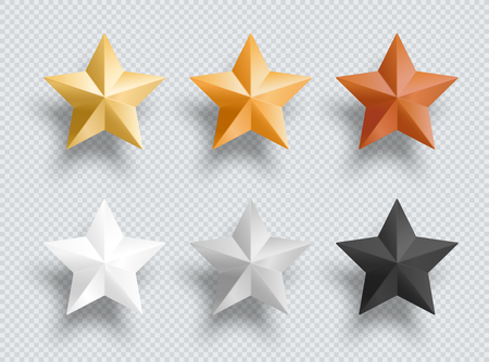 3d Metal Stars Gold Silver Bronze Vector Elements Set Stock fotó - 116874180