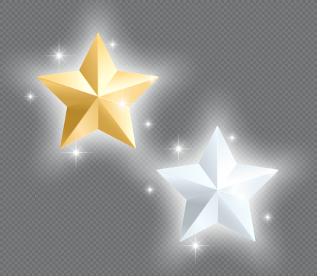 3d Metal Stars Gold Silver Glowing Vector Elements Illusztráció