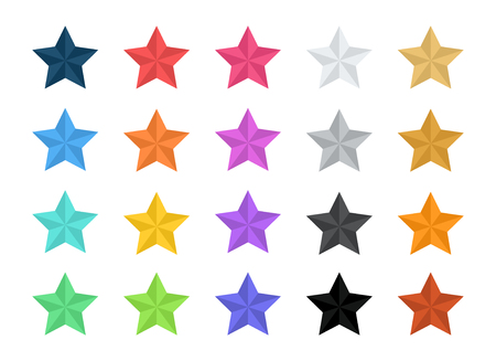 Stars Vector Flat Icons 2 Tone Colorful 20 Elements Set