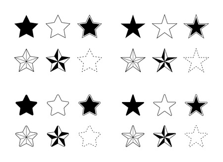 Stars Vector Icons Set Flat Single Color Solid and Outlines
