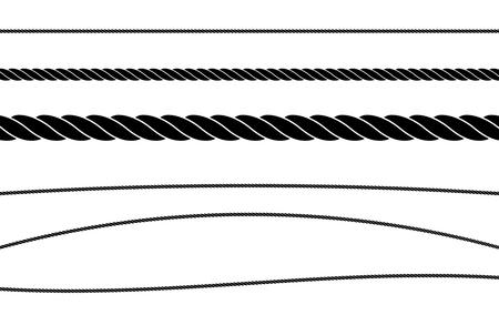 Rope String Flat Single Color Vector Illustration Set Illustration