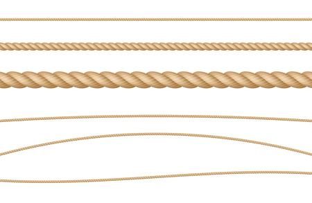 Insieme dell'illustrazione realistica naturale di vettore della corda della corda