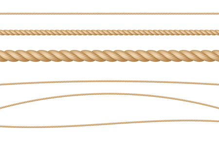 Rope String Natural Realistic Vector Illustration Set