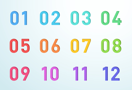 Bullet Point Colorful Cut Out Numbers 1 to 12 Vector Illustration