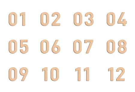 Wooden Number Elements Set 1 to 12 Vector 3d Illustration Illustration