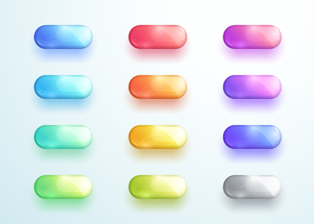 Glossy Pill Button Shape Icon Vector Elements Set