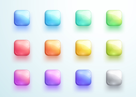 Glossy Square Button Shape Icon Vector Elements Set