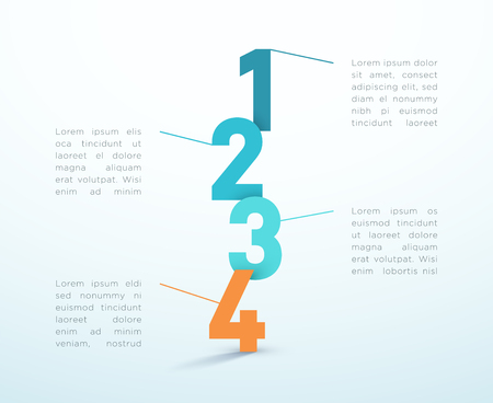 Number Steps 1 to 4 Infographic Vector Design