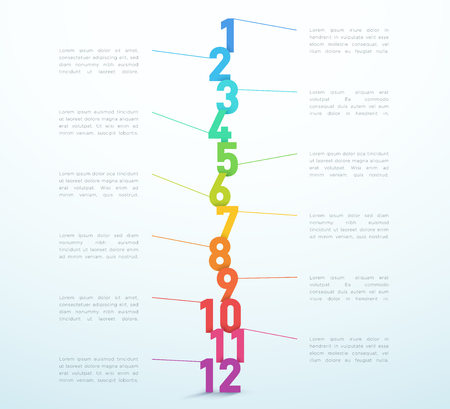 Number Steps 1 to 12 Infographic Vector Design